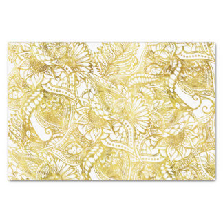 Elegant chic gold foil hand drawn floral pattern tissue paper