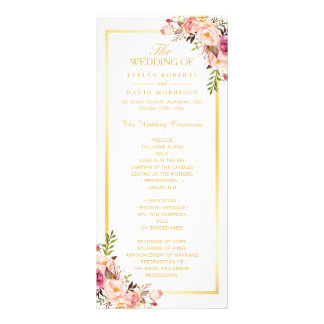 Elegant Chic Gold Frame Floral Wedding Program Personalized Rack Card