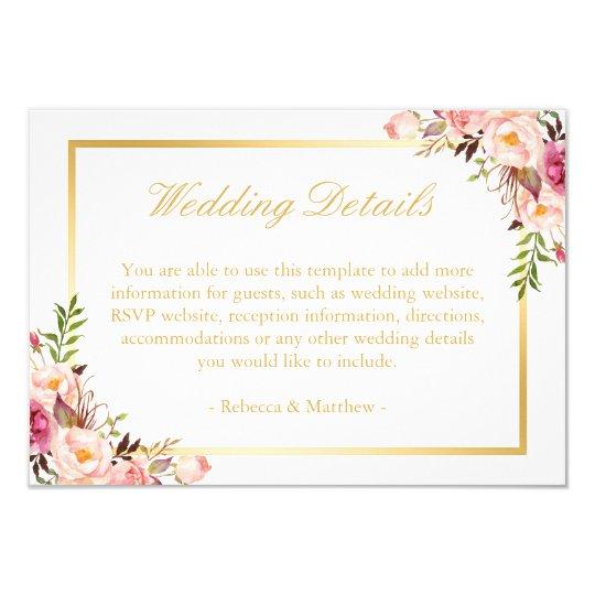 Elegant Chic Gold Pink Floral Wedding Details Card