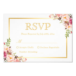 Elegant Chic Gold Pink Floral Wedding RSVP Reply 9 Cm X 13 Cm Invitation Card