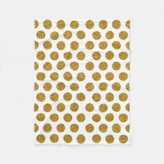 Elegant Chic Gold Polka Dots Glitter Photo Print Fleece Blanket