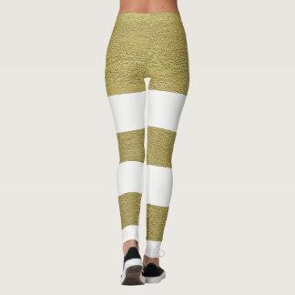 Elegant Chic Gold White Stripes Pattern Leggings