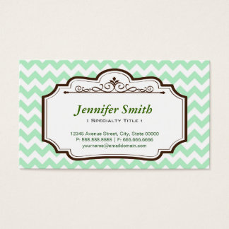 Elegant Chic Green Chevron Zigzag - two sided Business Card