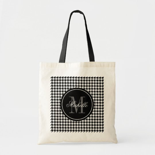 Elegant chic houndstooth pattern monogram tote bag