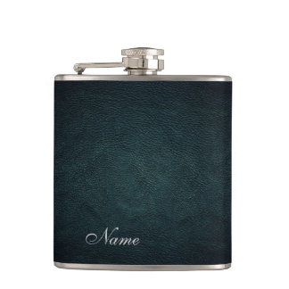 Elegant chic leather look  personalized hip flask