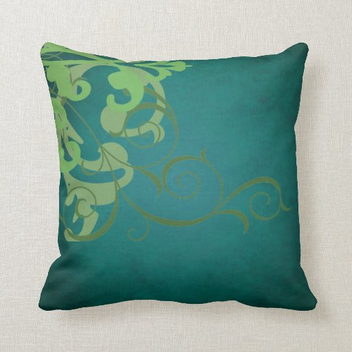 Elegant Chic Lime Scroll Teal Mojo Pillow