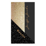 Elegant chic luxury contemporary leopard glittery pack of standard business cards