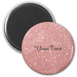 Elegant Chic Luxury Faux Glitter Rose Gold 6 Cm Round Magnet