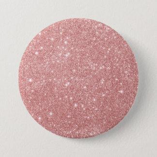 Elegant Chic Luxury Faux Glitter Rose Gold 7.5 Cm Round Badge