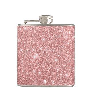 Elegant Chic Luxury Faux Glitter Rose Gold Hip Flask