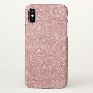 Elegant Chic Luxury Faux Glitter Rose Gold iPhone X Case