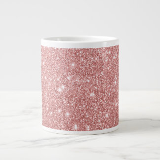 Elegant Chic Luxury Faux Glitter Rose Gold Large Coffee Mug