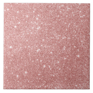 Elegant Chic Luxury Faux Glitter Rose Gold Large Square Tile