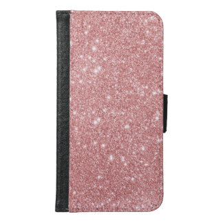 Elegant Chic Luxury Faux Glitter Rose Gold Samsung Galaxy S6 Wallet Case