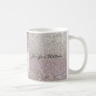 Elegant chic luxury faux glittery basic white mug