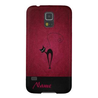Elegant  chic luxury leather black cat galaxy s5 cases