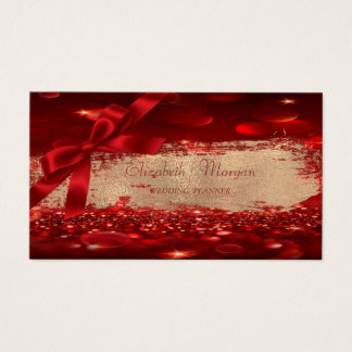 Elegant Chic Modern Bokeh,Brush Strok, Bow Business Card