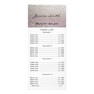 Elegant chic modern luxury faux glittery menu card personalized rack card