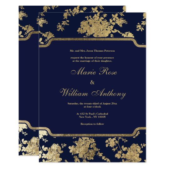 Elegant chic navy blue faux gold floral Wedding