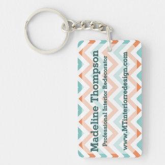 Elegant Chic Orange Teal Chevron Zigzag Pattern Double-Sided Rectangular Acrylic Keychain