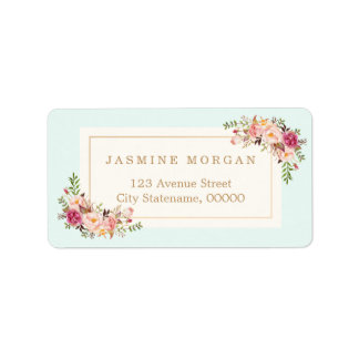 Elegant Chic Pastel Watercolor Floral Boutique Address Label