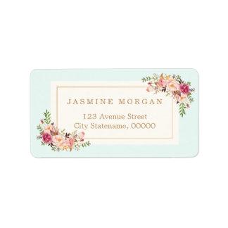 Elegant Chic Pastel Watercolor Floral Boutique Address Label