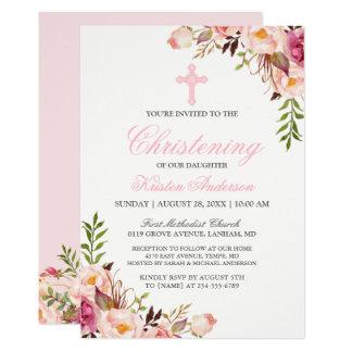 Elegant Chic Pink Floral Christening Baptism Card