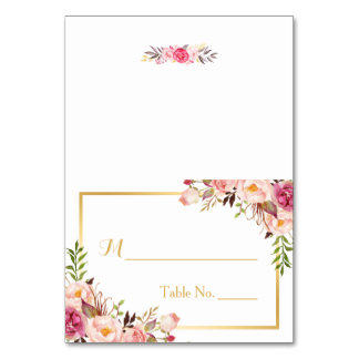 Elegant Chic Pink Floral Escort Wedding Place Table Cards
