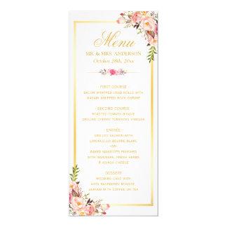 Elegant Chic Pink Floral Gold Frame Wedding Menu 10 Cm X 24 Cm Invitation Card