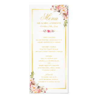 Elegant Chic Pink Floral Gold Frame Wedding Menu Card