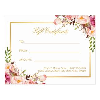 Elegant Chic Pink Floral Gold Gift Certificate Postcard