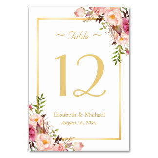 Elegant Chic Pink Floral Gold Wedding Table Number Table Card