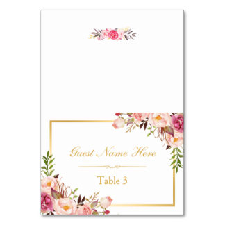 Elegant Chic Pink Floral Wedding Place Escort Card