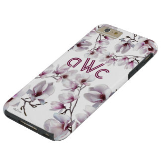 Elegant chic pink magnolia monogram tough iPhone 6 plus case