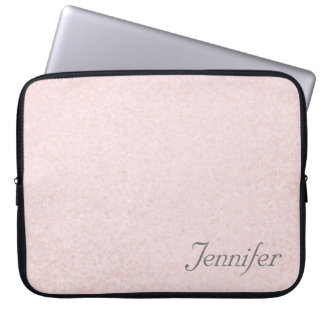 Elegant chic PINK printed glitter PERSONALIZED Laptop Sleeve