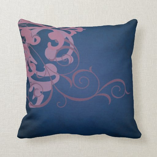 Elegant Chic Pink Scroll Blue Mojo Pillow