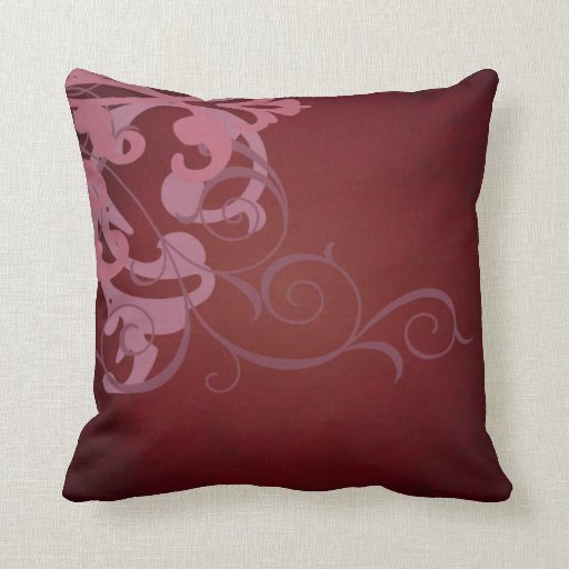 Elegant Chic Pink Scroll Red Mojo Pillow