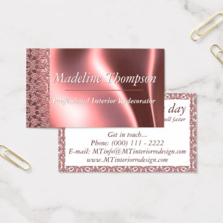 Elegant Chic Pink Vintage Damask Lace Pattern Business Card