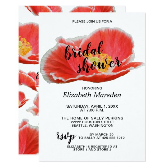 Elegant Chic Red Poppies Floral Bridal Shower Card