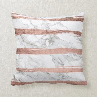 Elegant chic rose gold brush stripes white marble cushion