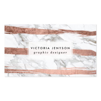 Elegant chic rose gold brush stripes white marble pack of standard business cards