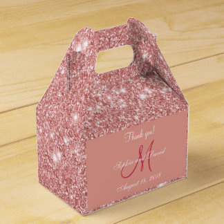 Elegant Chic Rose Gold Monogram Wedding Favor Favour Box
