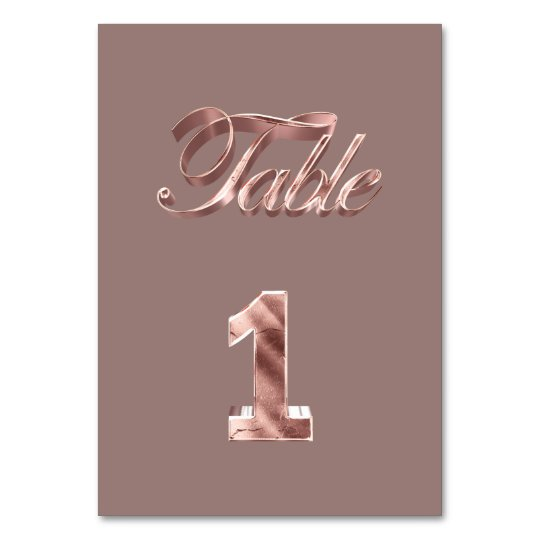 Elegant Chic Rose Gold Party Guests Table Number