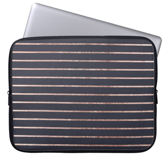 Elegant Chic Rose Gold Stripes and Navy Blue