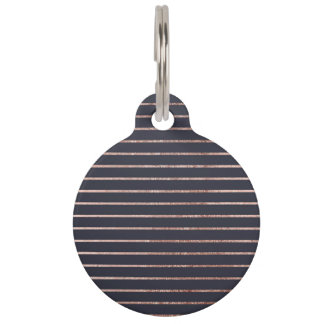 Elegant Chic Rose Gold Stripes and Navy Blue Pet Name Tag