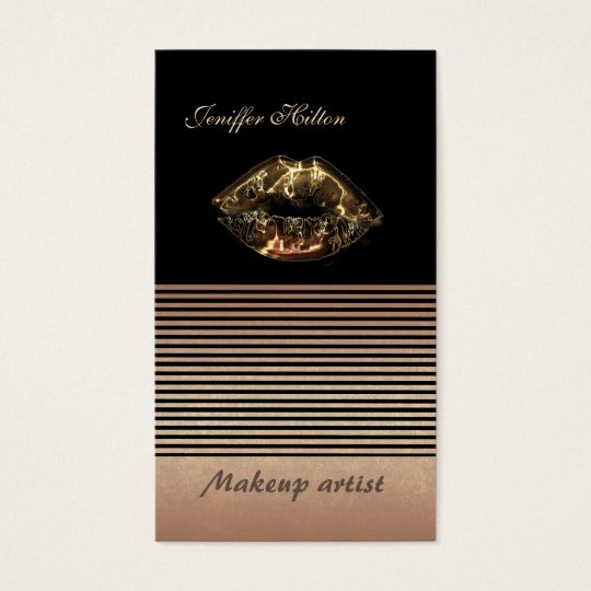 Elegant chic rose gold stripes metalic lips business card