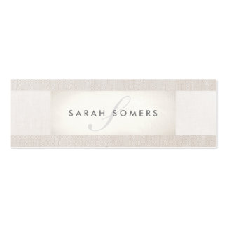 Elegant Chic Silver Chic Striped Beige Monogram 2 Pack Of Skinny Business Cards