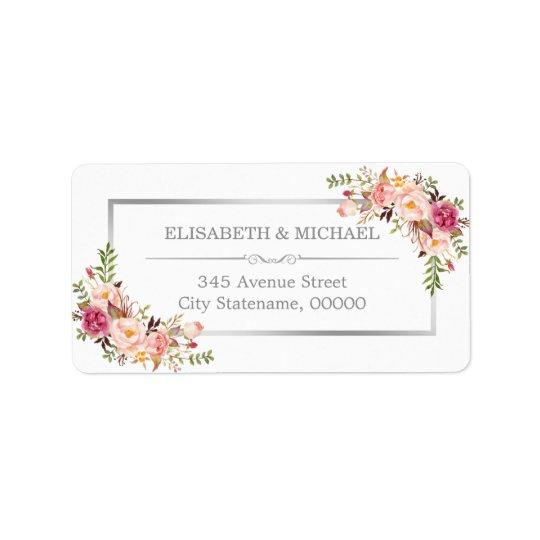 Elegant Chic Silver Grey Beautiful Floral Decor Address Label