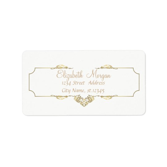 Elegant Chic  Simple White,Faux Gold Frame Label