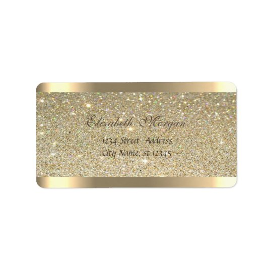 Elegant Chic  Sophisticated,Striped,Glittery Address Label